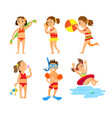 girls and boys on vacation swimming kids in summer vector image
