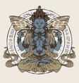 hand-drawn winged buddha meditating in lotus pose vector image vector image