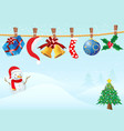 hanging christmas gifts in snowing background vector image vector image