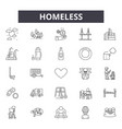 homeless line icons signs set outline vector image vector image