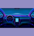 inside futuristic car neon auto modern interior vector image vector image