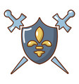 knight shield and swords icon cartoon style vector image vector image