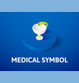 medical symbol isometric icon isolated on color vector image vector image