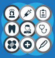 medicine icons set collection of plus injection vector image vector image
