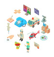 medicine icons set isometric style vector image vector image