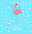 merry christmas pink flamingo with wing holding vector image vector image