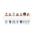 people with placard full length vector image