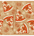 pizza seamless pattern food background vector image