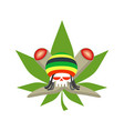 rasta logo rastafarian hat and skull joint or vector image vector image