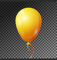 realistic yellow balloon with ribbon isolated vector image vector image