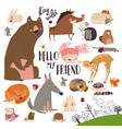 set cute wild animals in forest on white vector image