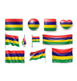 set mauritius flags banners banners symbols vector image vector image