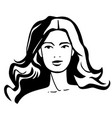 silhouette face fashion young woman vector image