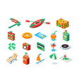 travel icons set summer vacation objects vector image