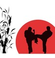 two men engaged in karate over red background vector image vector image