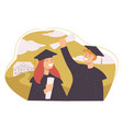 university students celebrating graduation in uni vector image
