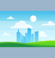 urban landscape skyscrapers in green eco area vector image vector image
