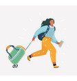 woman is late for airplane vector image vector image
