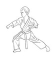 young karate boy vector image