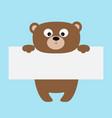 funny bear hanging on paper board templatebig vector image
