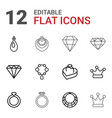 12 jewelry icons vector image vector image