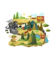 Adventure on a forest trail flat design vector image vector image