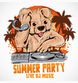 bear summer party dj house music element vector image vector image