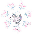 beautiful unicorn with floral frame magic vector image