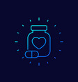 bottle of pills for heart linear icon vector image
