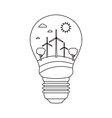 Bulb with wind power in style monoline vector image