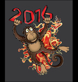 Chinese year of the Monkey with fire flames vector image