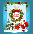 christmas banner with santa snowman and wreath vector image vector image
