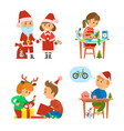 christmas holidays children unpacking presents vector image vector image