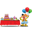 Clown at a birthday party vector image