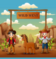 cowboys with horse in wild west entrance vector image vector image