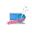 data security theme with broken shield vector image vector image