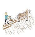 farmer sows the seed on the field vector image