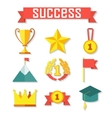 Flat design of set award success and vector image