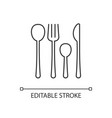 forks knives and spoons linear icon vector image vector image