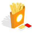 French fries isometrics Slices of roasted potatoes vector image vector image