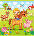 girl sits on a horse and holds a rabbit in her vector image