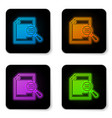 glowing neon document with search icon isolated vector image vector image