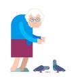 grandmother feeds pigeons grandma and dove good vector image vector image