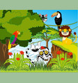green jungle and their inhabitants vector image vector image