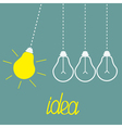 Hanging yellow light bulbs Perpetual motion Idea vector image vector image