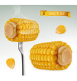 hot corn on fork 3d icon vector image vector image