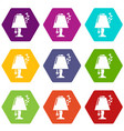 lamp icons set 9 vector image vector image