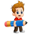 little boy holding a big pencil vector image