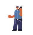 male police officer using walkie-talkie policeman vector image vector image