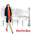 man with tablet in amsterdam vector image vector image
